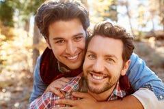 Retrato dos pares masculinos alegres que andam através da floresta da queda Fotografia de Stock