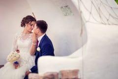 Retrato dos pares novos casados felizes do casamento exteriores com espaço da cópia Foto de Stock Royalty Free