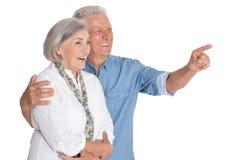 Retrato dos pares superiores felizes isolados no fundo branco fotografia de stock royalty free
