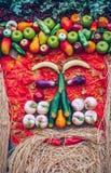 Retrato dos vegetais Vegetais orgânicos frescos em wi de madeira da tabela Foto de Stock