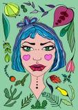 Retrato dreamlike a mano de la muchacha ilustración del vector