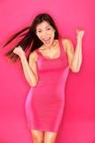 Retrato emocionado de la mujer del ganador del éxito Imagen de archivo libre de regalías