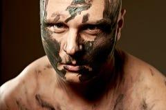 Retrato emocional del combatiente Imágenes de archivo libres de regalías