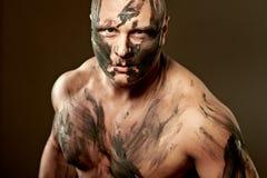Retrato emocional del combatiente Foto de archivo libre de regalías