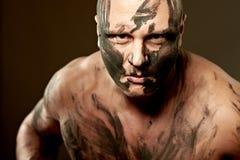 Retrato emocional del combatiente Imagenes de archivo