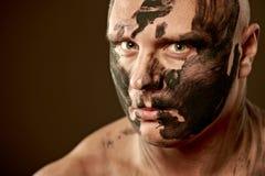Retrato emocional del combatiente Imagen de archivo