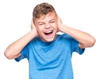 Retrato emocional del muchacho adolescente Foto de archivo