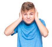 Retrato emocional del muchacho adolescente Imagen de archivo