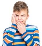 Retrato emocional do menino adolescente imagens de stock royalty free