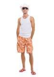 Retrato en del hombre de las vacaciones en gafas de sol Foto de archivo libre de regalías