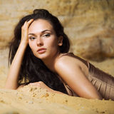 Retrato en la arena 2 Imagen de archivo libre de regalías