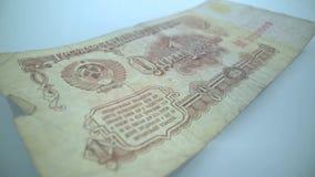 Retrato en vieja macro del billete de banco de la rublo de Rusia, l?der de Vladimir Lenin de la revoluci?n rusa 1917 almacen de video