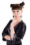 Retrato engraçado da mulher nova. imagens de stock