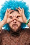 Retrato engraçado de um homem com emoção em sua cara Imagens de Stock Royalty Free