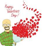 Retrato engraçado do homem com corações vermelhos ilustração stock