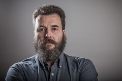 Retrato enorme de la barba, hombre caucásico adulto maduro Fotos de archivo