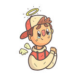 Retrato esboçado fresco tirado mão de Emoji do revestimento da faculdade de Angel Boy In Cap And ilustração stock