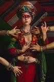 Retrato estilizado do vintage da jovem mulher imagens de stock royalty free