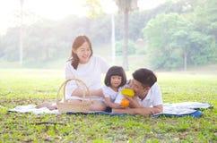 Retrato exterior da família asiática Fotografia de Stock