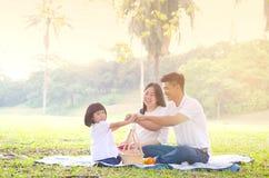 Retrato exterior da família asiática Imagens de Stock