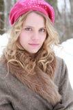 Retrato Eyed verde da mulher do inverno Fotografia de Stock
