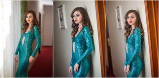 Retrato fêmea bonito da arte com os olhos bonitos na janela elegance Morena longa do cabelo no vestido 'sexy' longo Retrato da em imagem de stock