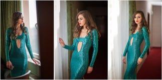 Retrato fêmea bonito da arte com os olhos bonitos na janela elegance Morena longa do cabelo no vestido 'sexy' longo Retrato da em fotografia de stock
