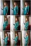 Retrato fêmea bonito da arte com os olhos bonitos na janela elegance Morena longa do cabelo no vestido 'sexy' longo Retrato da em foto de stock royalty free