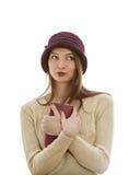 Retrato f una mujer con una cartera Fotos de archivo libres de regalías