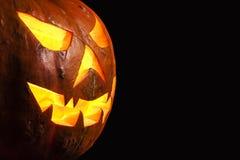 Retrato fantasmagórico del tres cuartos de la calabaza de Halloween Fotografía de archivo libre de regalías