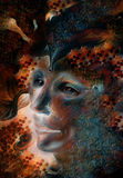 Retrato feericamente azul da cara do homem com estruturas abstratas delicadas Fotografia de Stock