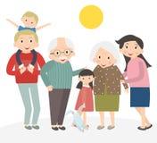 Retrato feliz da família Pai e mãe, filho e filha, avós em uma imagem junto ilustração do vetor