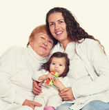 Retrato feliz da família - avó, filha e neta Foto de Stock