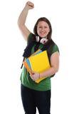 Retrato feliz da jovem mulher da felicidade do sucesso bem sucedido do estudante foto de stock royalty free