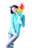 Retrato feliz da mulher de limpeza Imagens de Stock