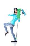 Retrato feliz da mulher de limpeza Fotografia de Stock Royalty Free