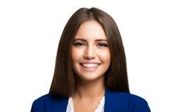 Retrato feliz da mulher isolado no branco Fotos de Stock Royalty Free