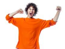 Retrato feliz de griterío fuerte del hombre joven Imagen de archivo
