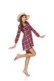 Retrato feliz de la mujer joven en estilo rural Imagen de archivo libre de regalías