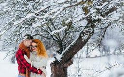 Retrato feliz de la nieve del Año Nuevo del invierno de la Navidad de los pares de los pares cariñosos que abraza el bosque hermo Foto de archivo libre de regalías