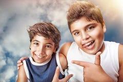 Retrato feliz de los muchachos Imagen de archivo