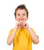 Retrato feliz del muchacho en blanco Imágenes de archivo libres de regalías