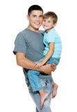 Retrato feliz do pai e do filho Fotos de Stock Royalty Free