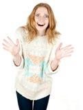 Retrato feliz sonriente de la mujer de los jóvenes Foto de archivo libre de regalías