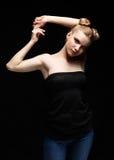 Retrato femenino adolescente joven de la belleza con maquillaje del día en negro Imágenes de archivo libres de regalías