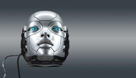 Retrato femenino del primer de la cara del robot ilustración del vector