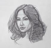 Retrato femenino - dibujo de lápiz Imagenes de archivo