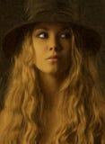 Retrato femenino en petróleos Fotografía de archivo