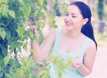 Retrato femenino joven sonriente del positivo de la primavera en jardín Fotos de archivo libres de regalías
