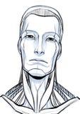 Retrato futurista del ejemplo del cyborg aislado en el fondo blanco imagen de archivo